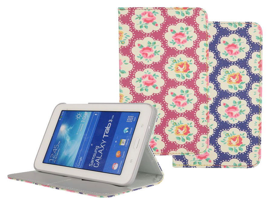 floral stand case hoes samsung galaxy tab 3 lite t110