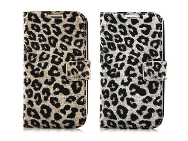 Leopard Leather Sideflip Stand Case Samsung Galaxy S3