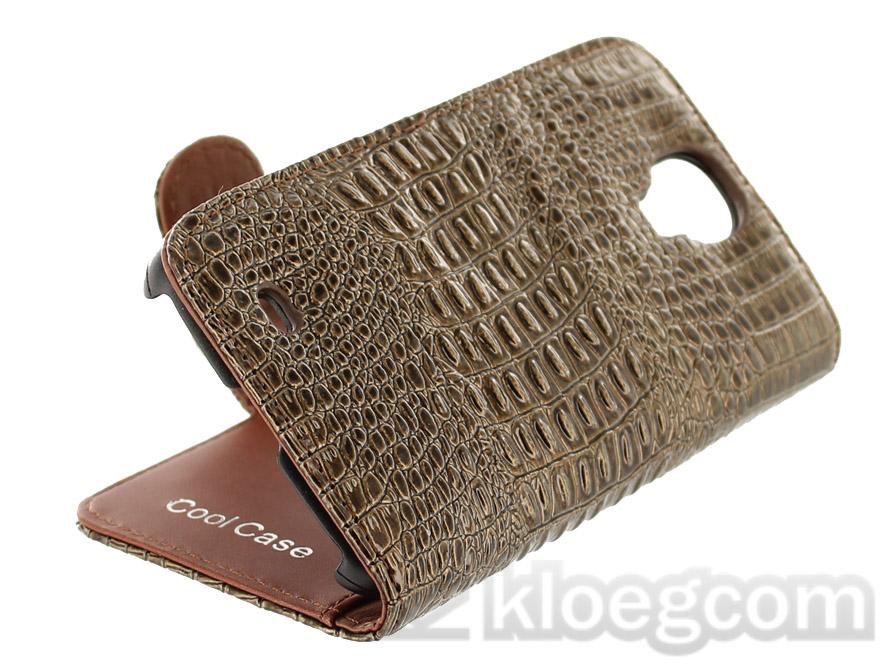 luxury croco wallet sideflip hoesje voor samsung galaxy s4