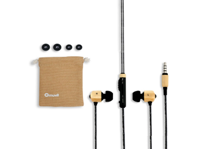 Muvit Bamboo In-Ear Stereo Headset met Microfoon