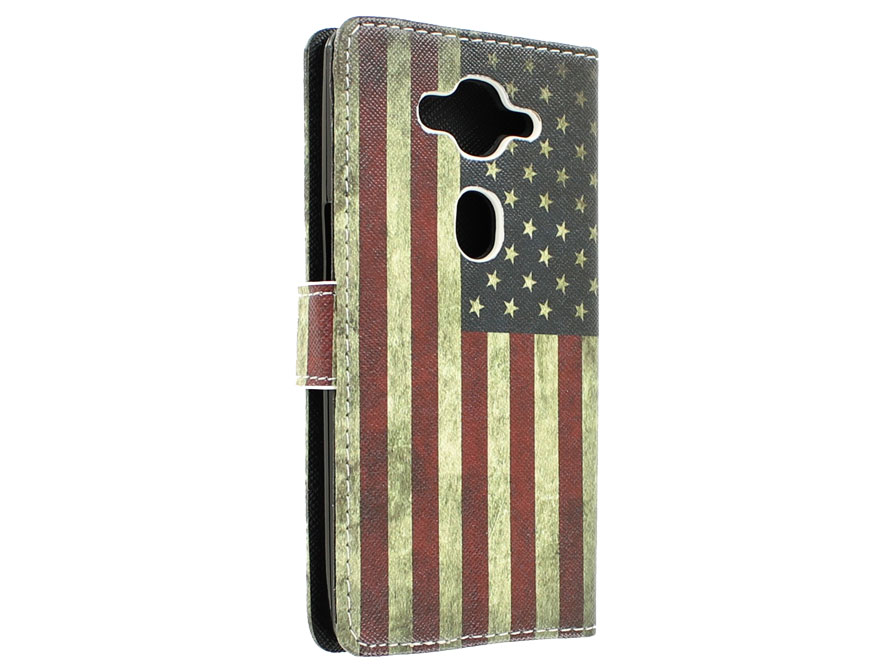 Vintage USA Flag Book Case Hoesje voor Acer Liquid E3