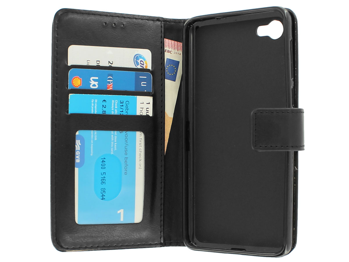 Wallet Bookcase Zwart - Alcatel A5 LED hoesje