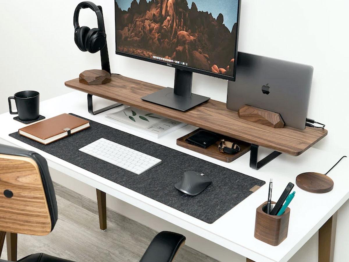 Oakywood Desk Shelf Walnut - Dual Monitor Stand Beelschermverhoger