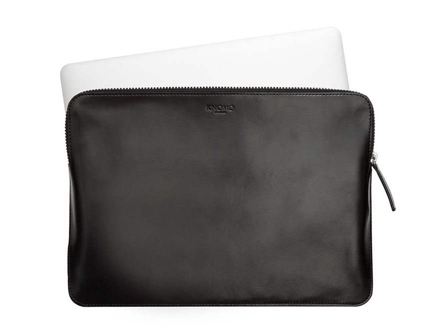 Knomo Leather Sleeve Black - MacBook 12 inch Hoes