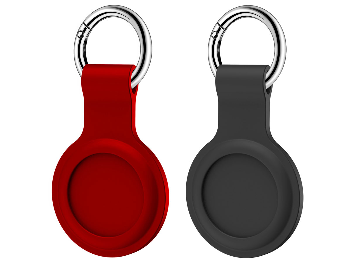 Sdesign 2-pack Silicone Case Hoesje voor AirTag (Zwart/Rood)