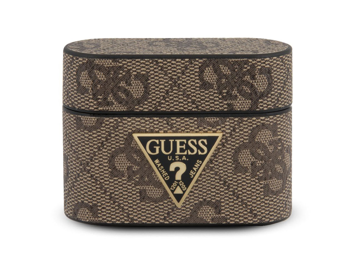 Guess 4G Monogram Case Bruin - AirPods Pro Case Hoesje