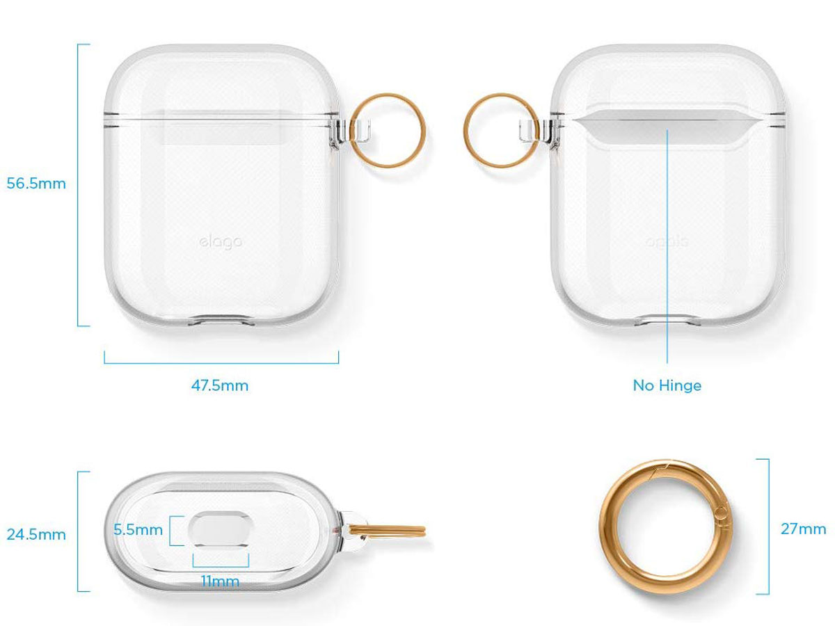 Elago Clear Case Transparant - AirPods 1 & 2 Hoesje