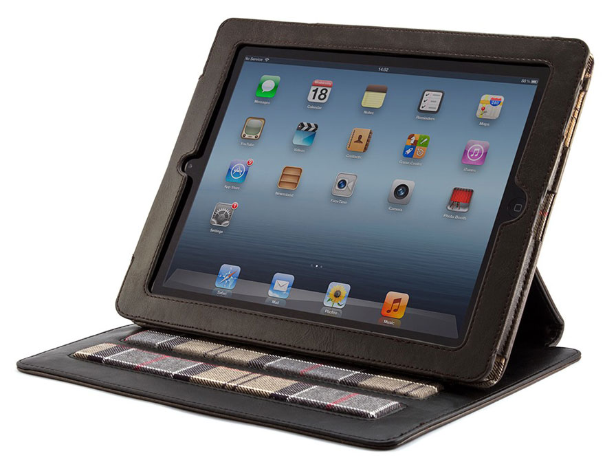 Barbour Leather Folio Stand Case - Hoes voor iPad 2, 3 & 4