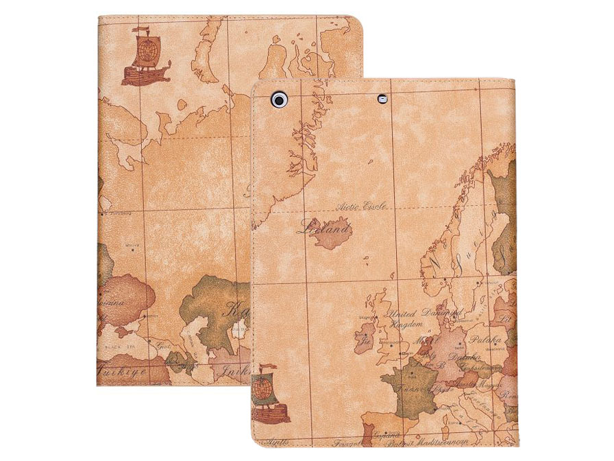 Antique World Map Stand Case Hoes Cover voor iPad Air