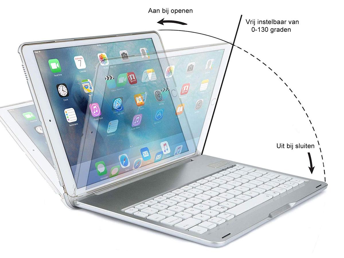 Bluetooth Toetsenbord Case Zilver - iPad 10.2 2019/2020 Hoesje