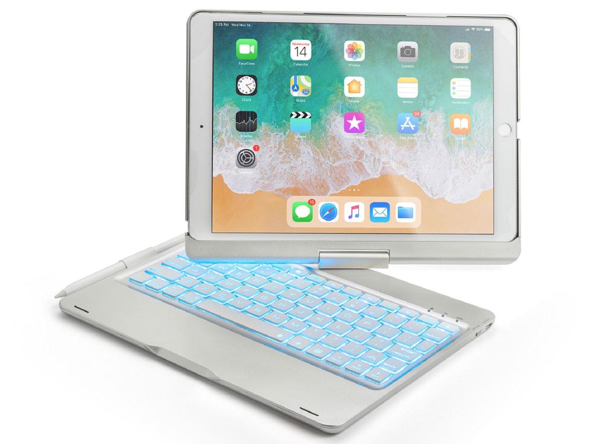 Bluetooth Toetsenbord Case 360 Zilver - iPad 10.2 Hoesje