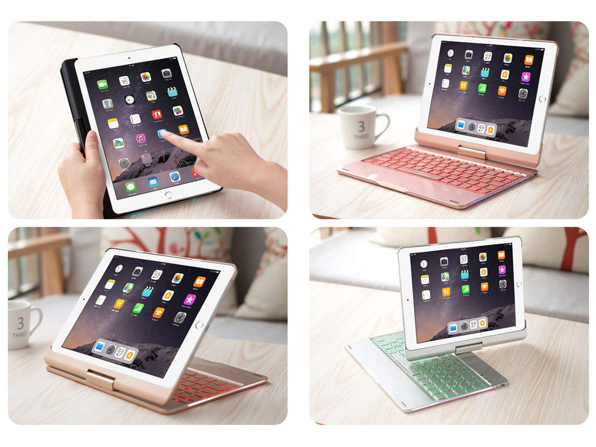 Bluetooth Toetsenbord Case 360 Zwart - iPad 9,7