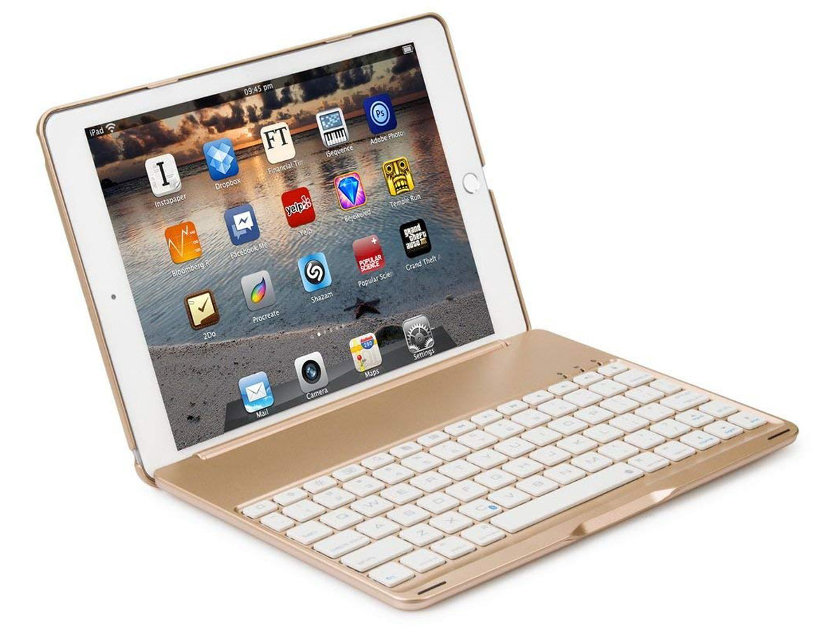 Bluetooth Toetsenbord Case Goud - iPad 2018/2017 Hoes