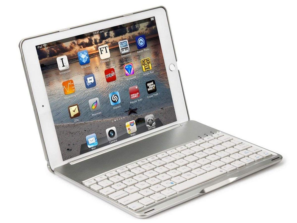 Bluetooth Toetsenbord Case Zilver - iPad Mini 4 Toetsenbord Hoesje