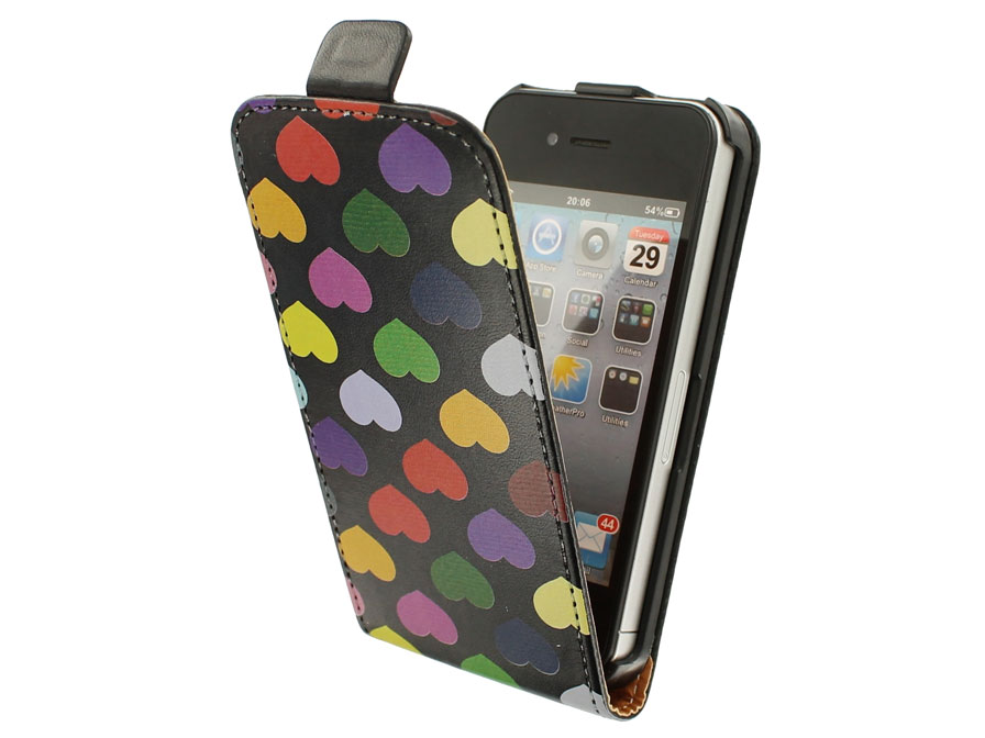 Call Candy Colored Hearts Flip Case - Hoesje voor iPhone 4/4S