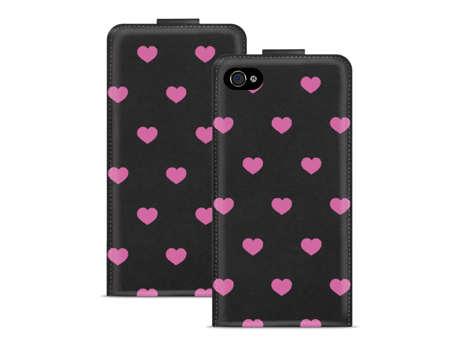 Call Candy Pink Hearts Flip Case - Hoesje voor iPhone 4/4S