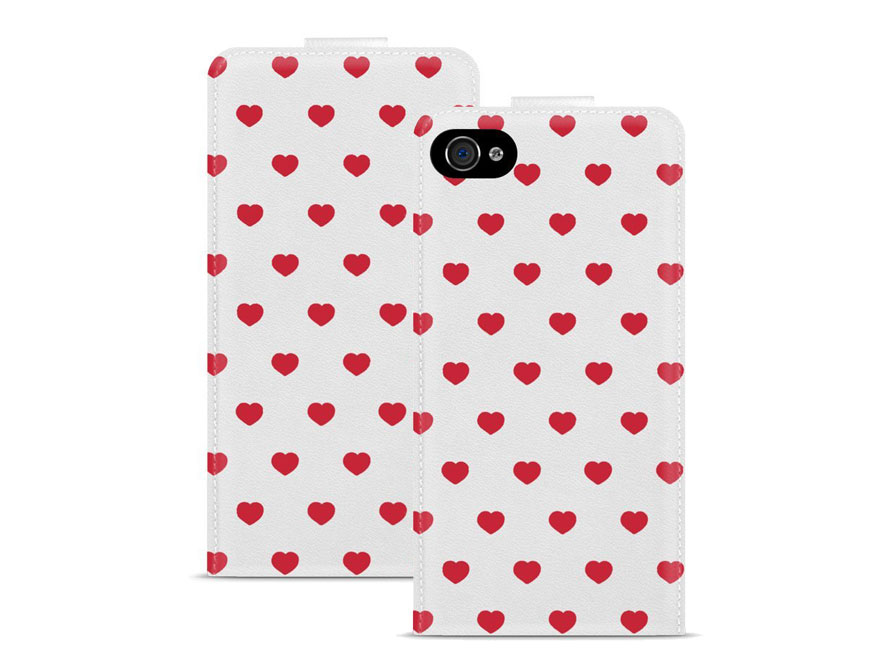 Call Candy Red Hearts Flip Case - Hoesje voor iPhone 4/4S