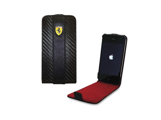 Ferrari Carbon Series Leren Flip Case voor iPhone 4/4S