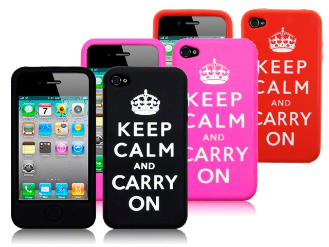 CaseBoutique 'Keep Calm and Carry On' Silicone Skin voor iPhone 4/4S