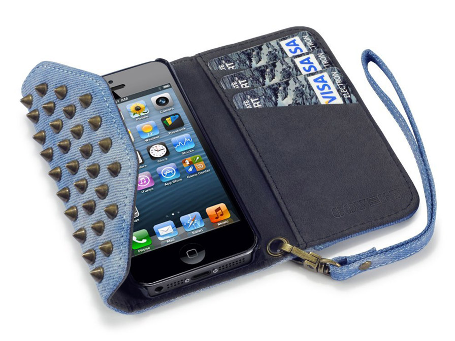 Covert Studded Denim Trifold Wallet Case voor iPhone 5/5S