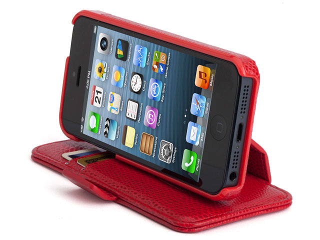 Kensington Portafolio Duo Red Snake SideFlip Wallet Case voor iPhone5/