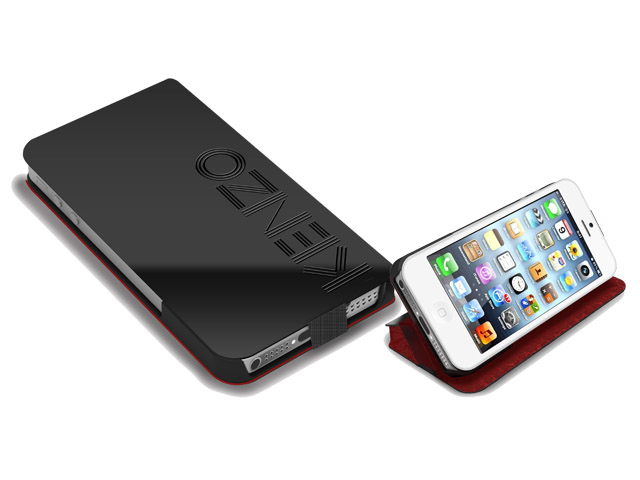 Kenzo Paris Designer Gloss Leather Book Case Hoesje voor iPhone5/5