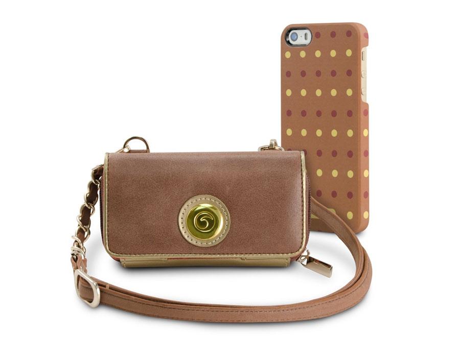 Marblue Zoey Luxor: iPhone SE/5s/5 hoesje + Leren Purse Bruin