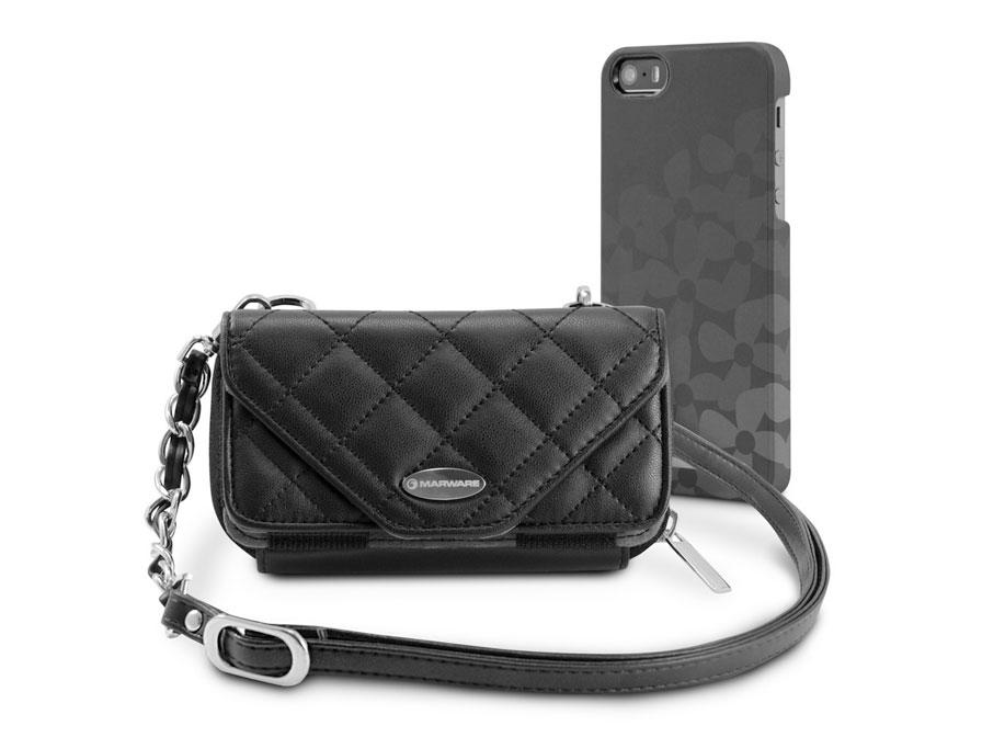 Marblue Zoey Onyx: iPhone SE/5s/5 hoesje + Leren Purse Zwart