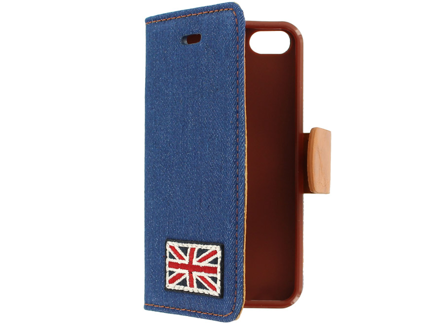 British Denim Style Wallet Case Hoesje voor iPhone 5/5S