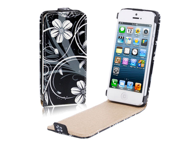 Black Flowers Kunstleren Flip Case voor iPhone 5/5S