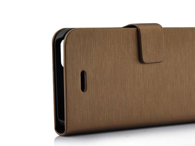 Brushed Alu-Look Bookcase - iPhone SE/5s/5 hoesje
