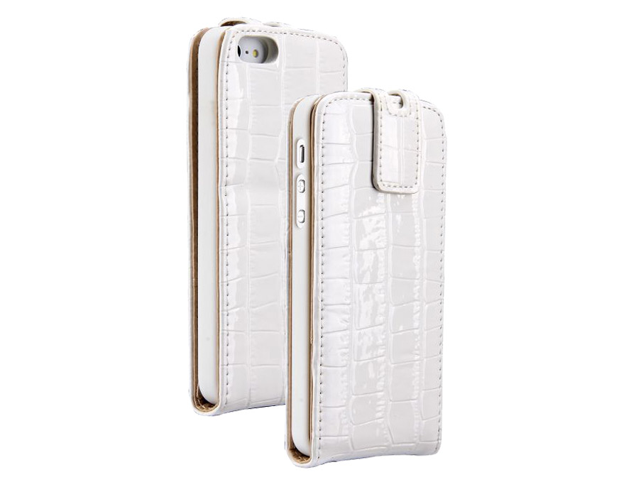 Croco Bottom Flip Case Hoes voor iPhone 5/5S