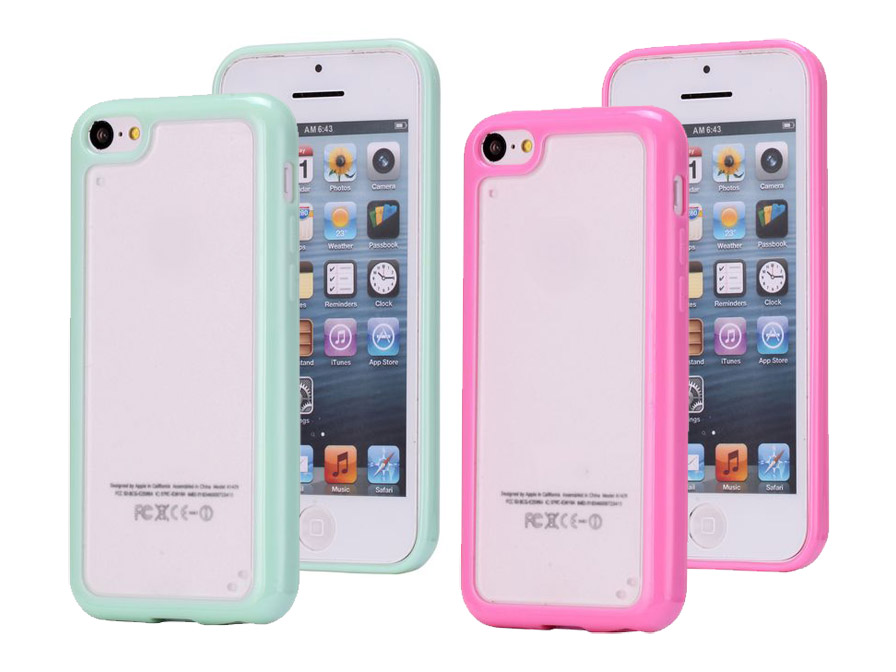 Case Design armor phone cases : Pastel Series BiMat TPU Crystal Case Hoesje voor iPhone 5C