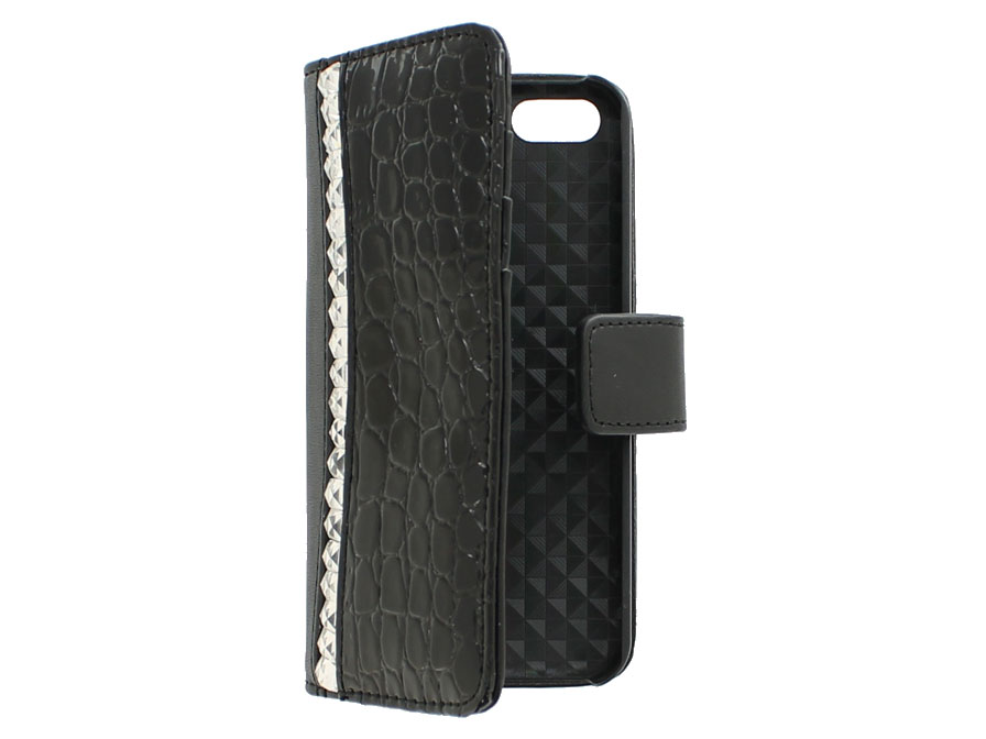 Croco Elegant Wallet Case - Hoesje voor iPhone 5C