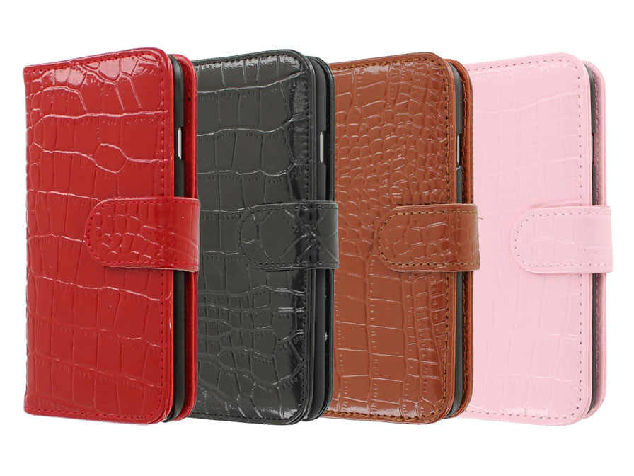 Croco Leather Bookcase - iPhone 6/6s hoesje