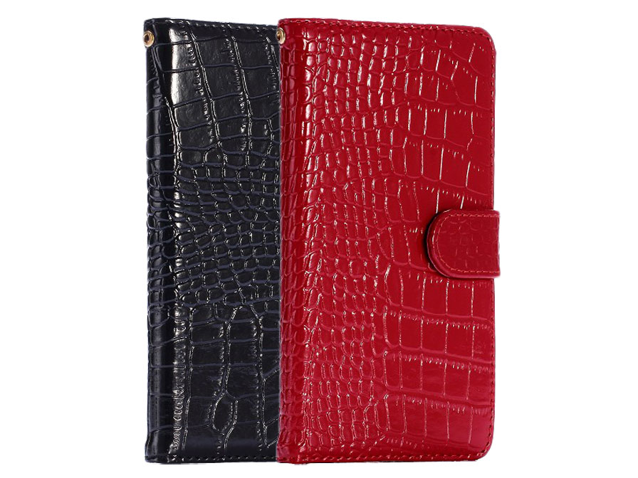 Croco Leather Bookcase Iphone 6 Plus 6s Plus Hoesje
