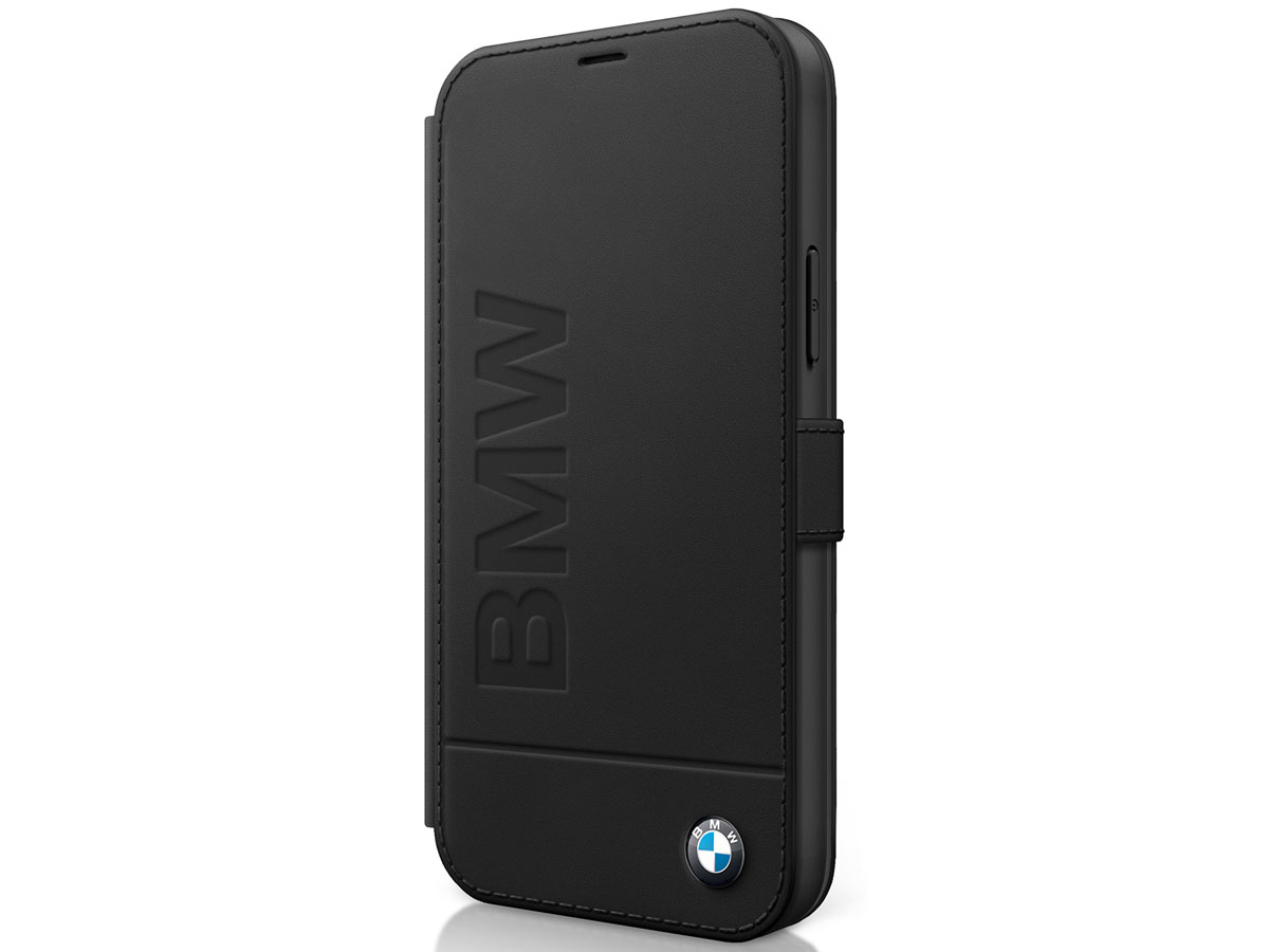 BMW Signature Bookcase Zwart Leer - iPhone 12 Mini hoesje