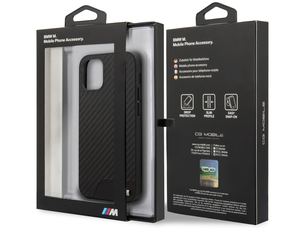 BMW M Sport PU Carbon Case - iPhone 12 Mini hoesje