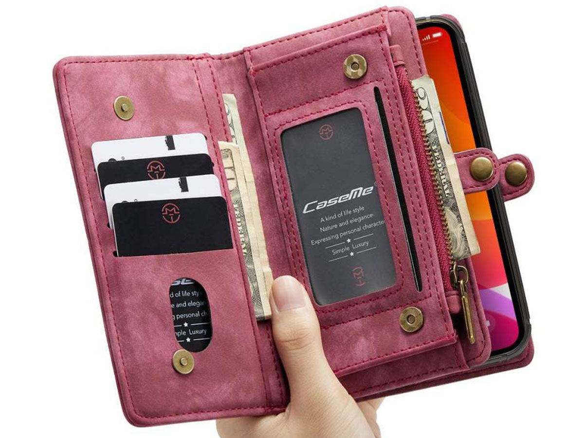 CaseMe 2in1 Wallet Case met Ritsvak Rood - iPhone 12 Mini Hoesje
