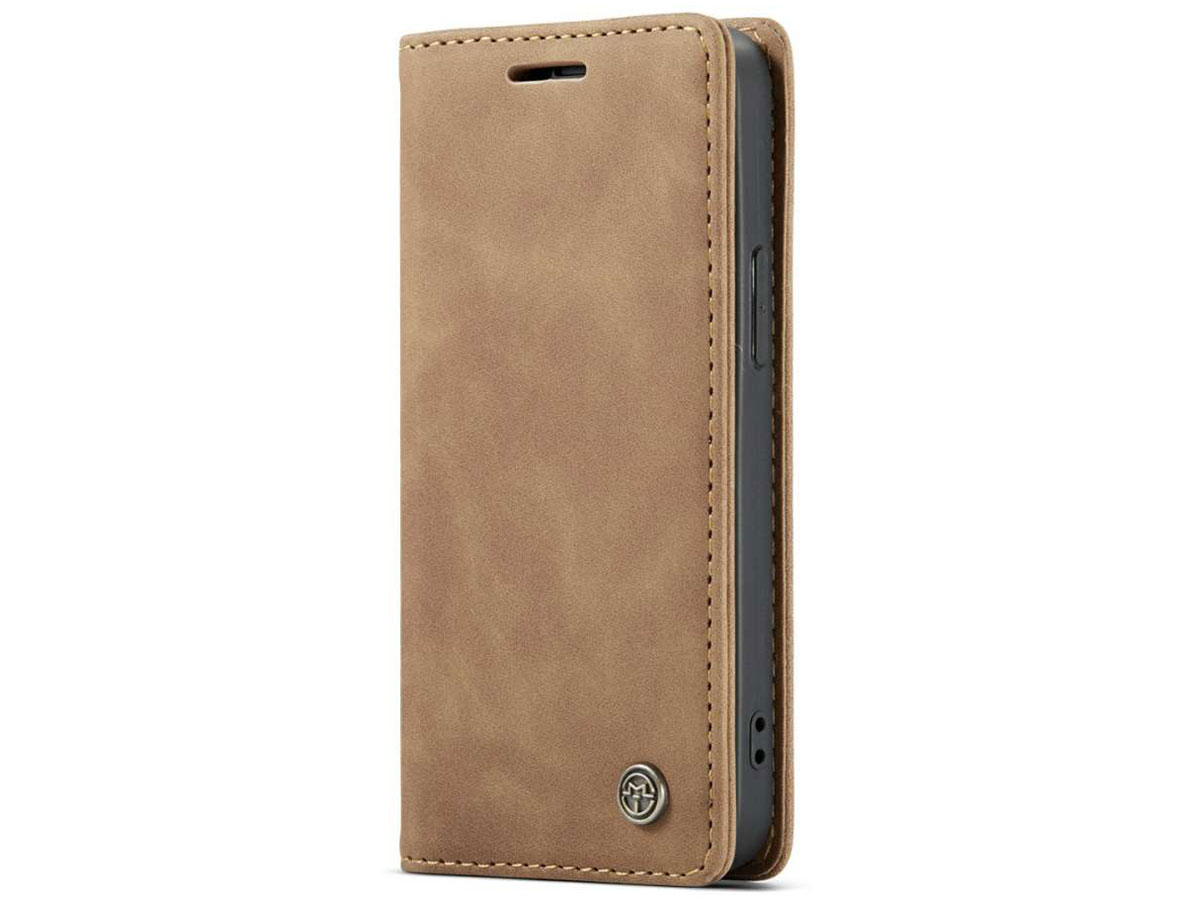 CaseMe Vintage Bookcase Tan - iPhone 12 Mini hoesje