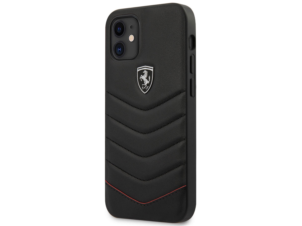 Ferrari Quilted Leather Case Zwart - iPhone 12 Mini Hoesje