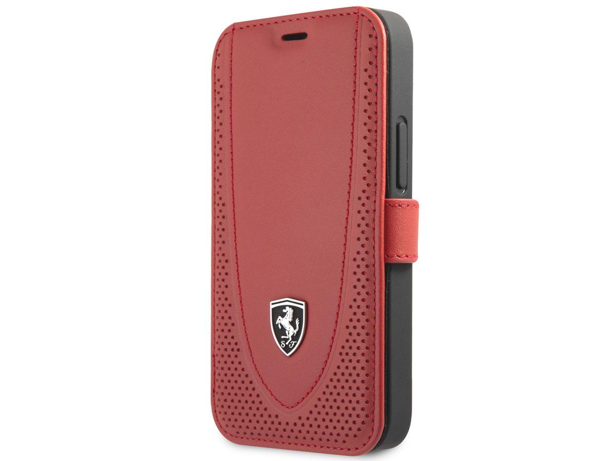 Ferrari Off Track Perforated Leather Bookcase Rood - iPhone 12 Mini Hoesje