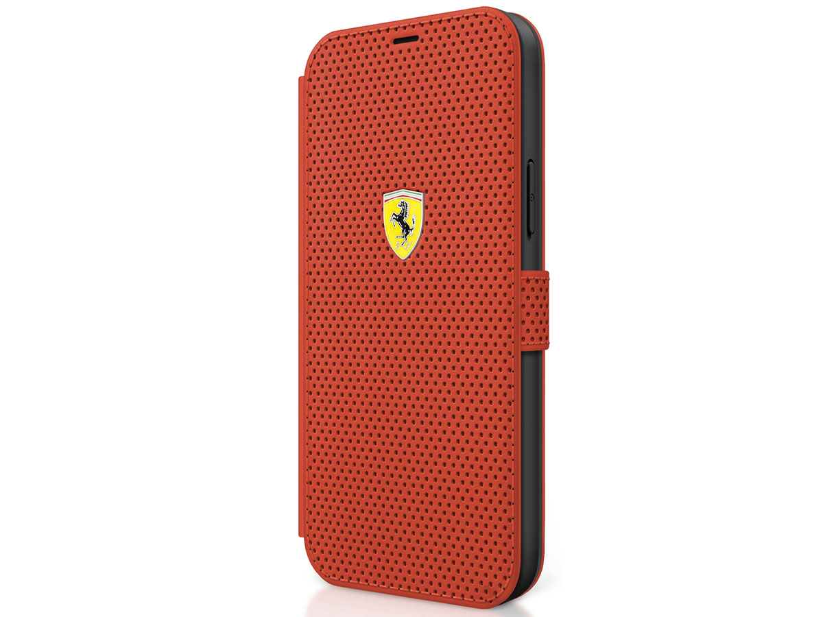 Ferrari On Track Perforated Bookcase Rood - iPhone 12 Mini Hoesje
