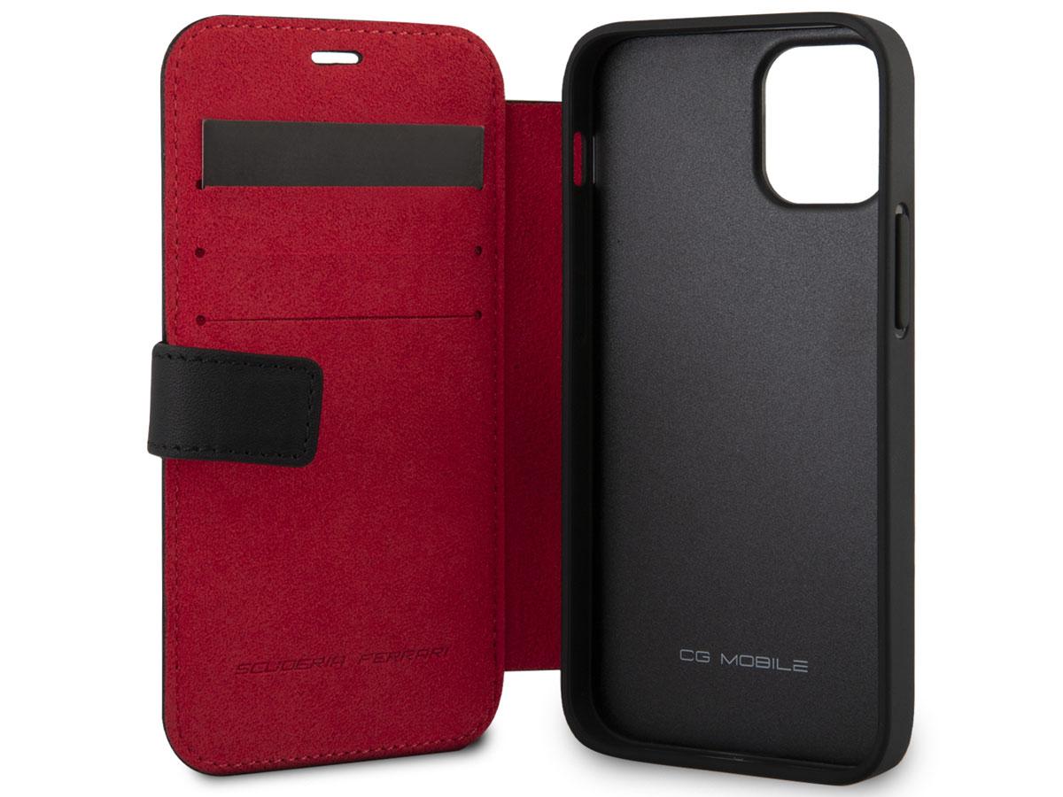 Ferrari Off Track Perforated Leather Bookcase Zwart - iPhone 12 Mini Hoesje