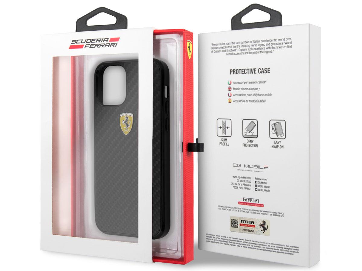 Ferrari Carbon Hard Case Zwart - iPhone 12 Mini Hoesje