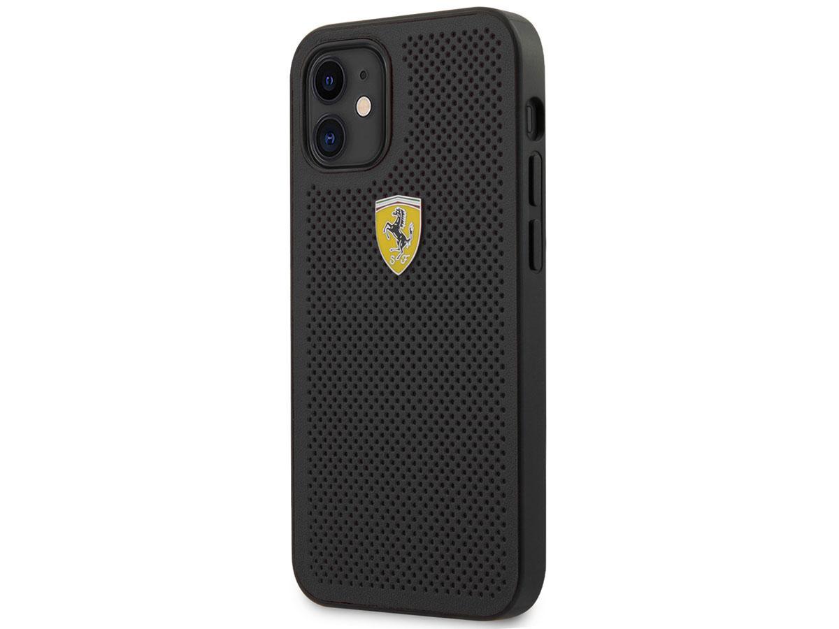 Ferrari Perforated PU Case Zwart - iPhone 12 Mini Hoesje