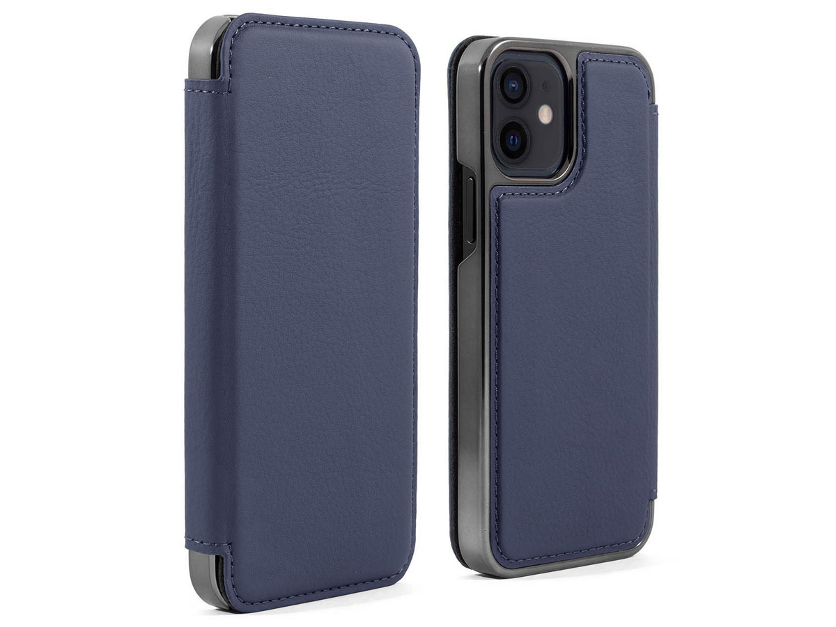 Greenwich Blake Leather Folio Portofino - iPhone 12 Mini Hoesje Donkerblauw