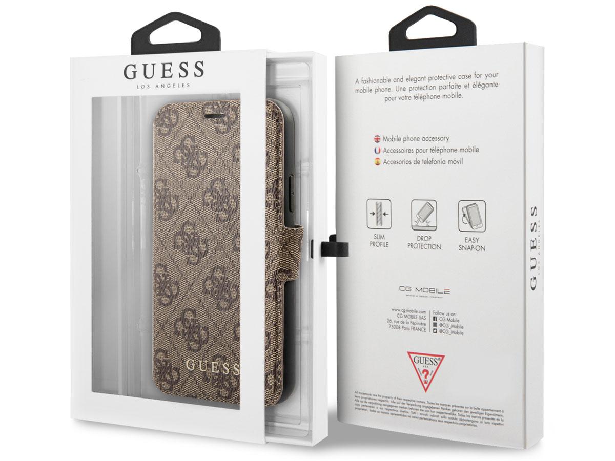 Guess 4G Monogram Bookcase Bruin - iPhone 12 Mini hoesje
