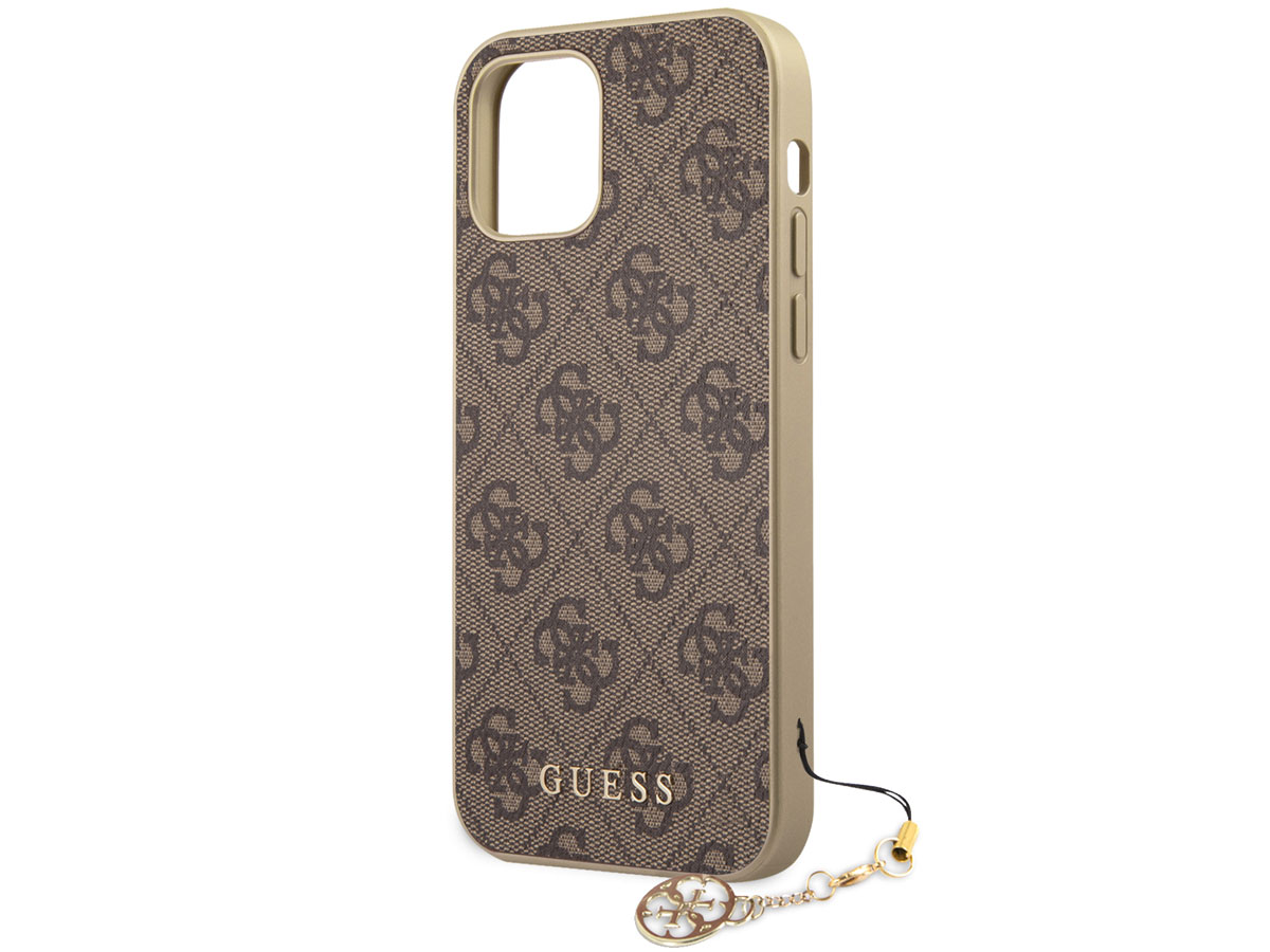 Guess 4G Monogram Charm Case Bruin - iPhone 12 Mini hoesje