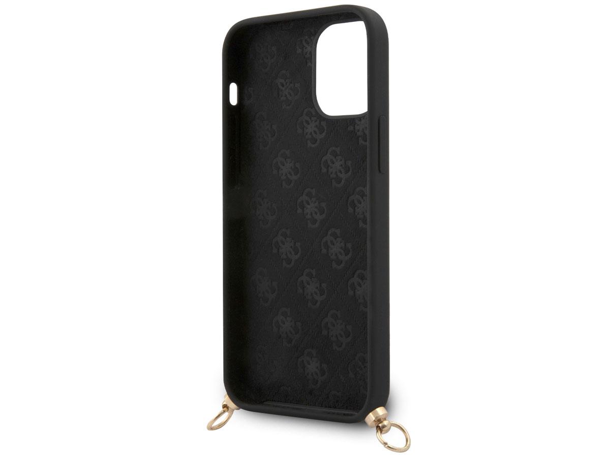 Guess Logo Necklace Case Zwart - iPhone 12 Mini hoesje